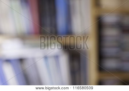 Defocused image of books in a bookstore. Specially blurred photo