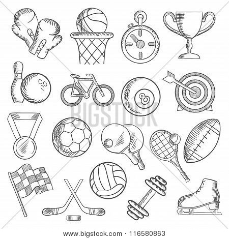 Sport and fitness sketch icons of game items