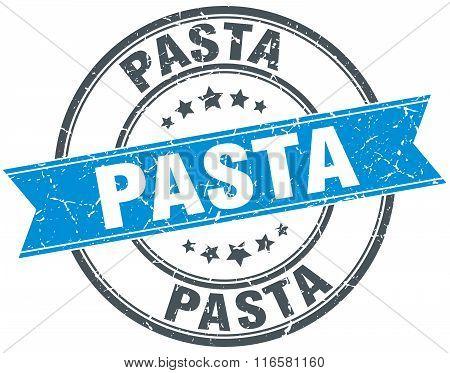 pasta blue round grunge vintage ribbon stamp