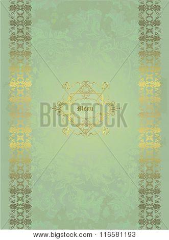 Floral Design Golden On Pale Green Shabby Background