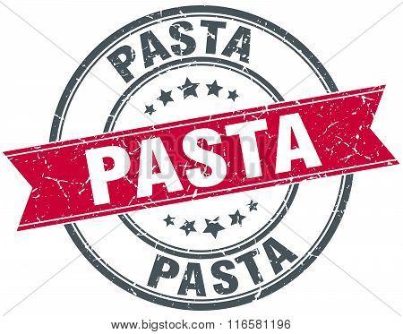 pasta red round grunge vintage ribbon stamp