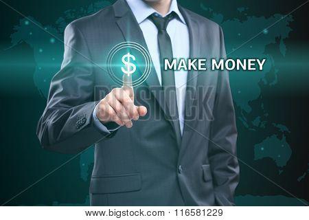 business, technology, internet concept - businessman pressing make money button on virtual screens