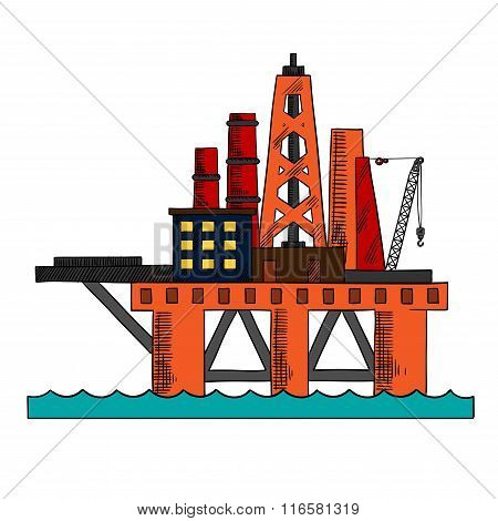 Colorful sketch of sea oil platform