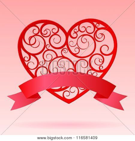 Red decorative paper hearts with banner. Valentine greeting card. Contain the Clipping Path