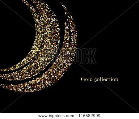 Golden Glitter Trail with Stars Background. Vector