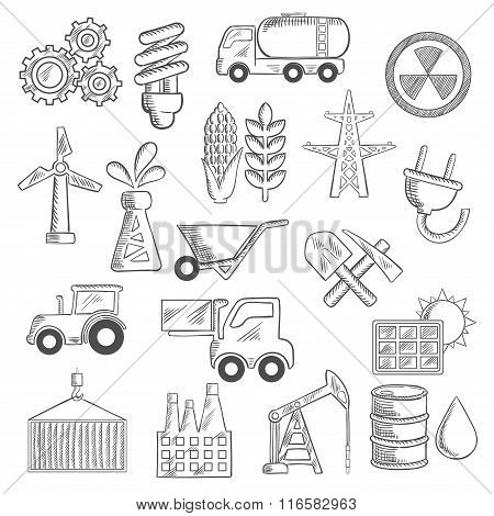 Industry and ecology objects sketches