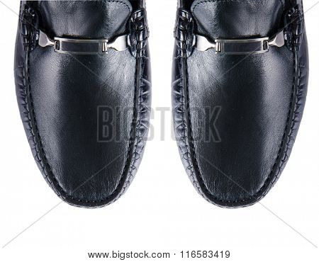 Tip of male shoes isolated on white