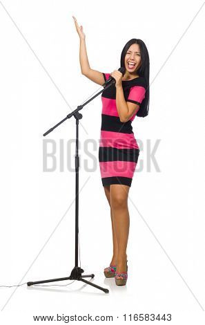 Woman singing in karaoke club on white