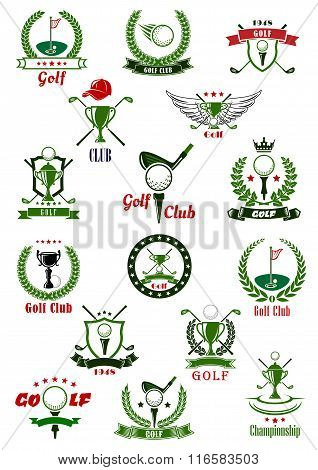 Golf sport game icons and symbols