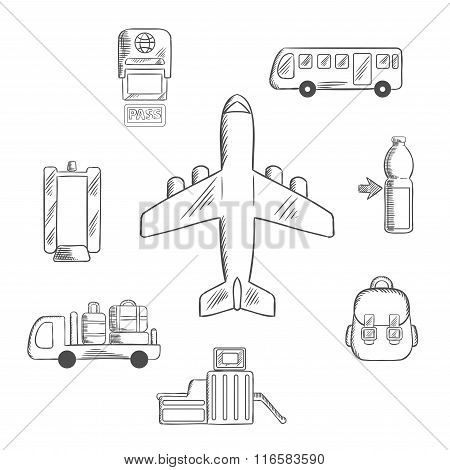 Airport service and aviation sketch icons
