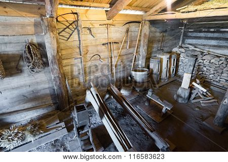 Suzdal, Russia - November 06, 2015.  interior of peasant houses in  Museum  Wooden Architecture