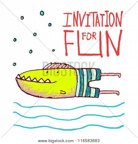 Cartoon Fun Monster Fish Invitation or Greeting Card Design Hand Drawn