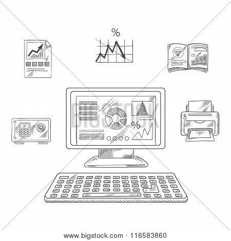 Business, financial and office objects