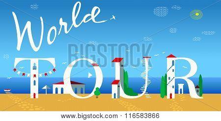 Inscription World Tour. Vector Illustration