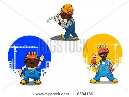 Cartoon builder, bricklayer and engineer