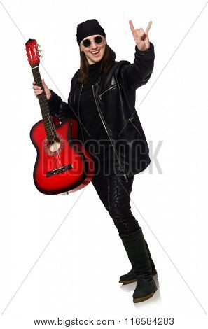 Young guitar player isolated on the white