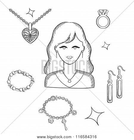Woman fashion with jewelry and gold