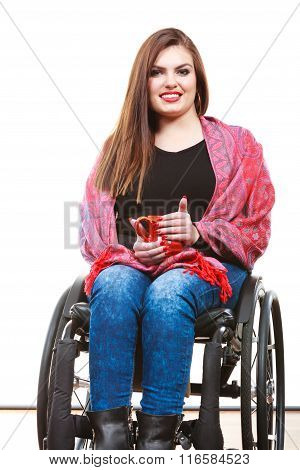 Woman Invalid Girl On Wheelchair Holds Tea Mug