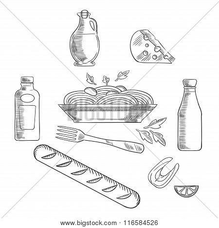 Sketch of italian pasta and food