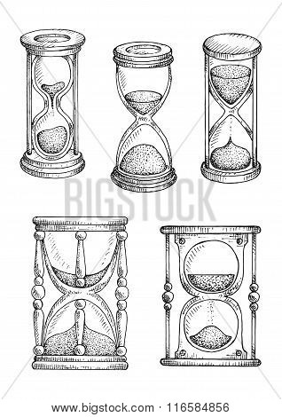 Hourglasses and sandlgasses sketches set
