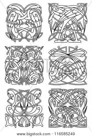 Heron, stork and crane celtic ornaments