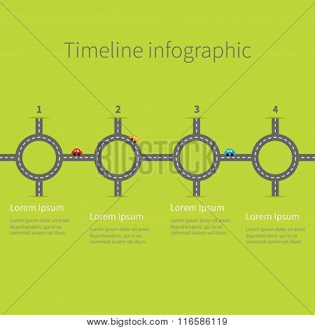 Infographic Timeline Four Step Round Circle Crossroad Set. Road White Marking And Cartoon Cars. Numb