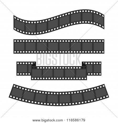 Film Strip Frame Set. Different Shape Ribbon. Design Element. White Background. Isolated. Flat Desig