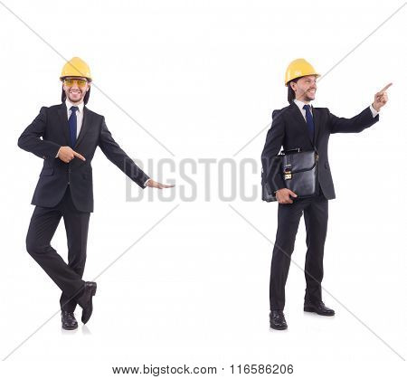 Young architect wearing hardhat on white