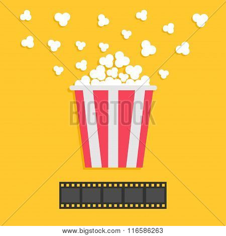 Popcorn Popping. Film Strip. Red Yellow Box. Cinema Movie Night Icon In Flat Design Style. Yellow Ba
