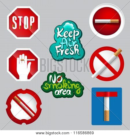 Realistic No Smoking Icon Set