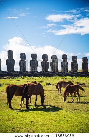 Wild Horses Against Ahu Tongariki.