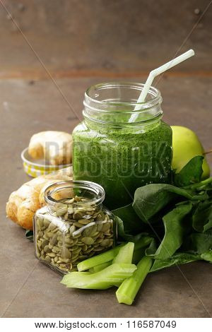 beverage with spinach, celery and pumpkin seeds, detox and healthy food