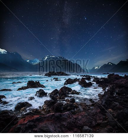 Stars Shine In The Sky Over The Fjords