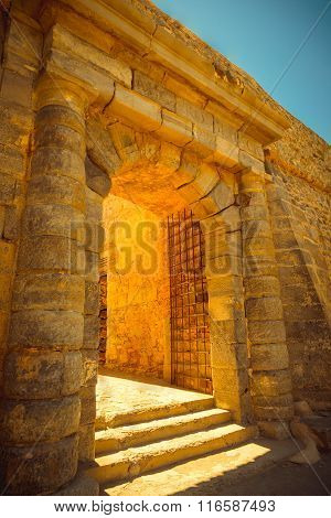 Gate In Fortress Spinalonga, Crete, Greece