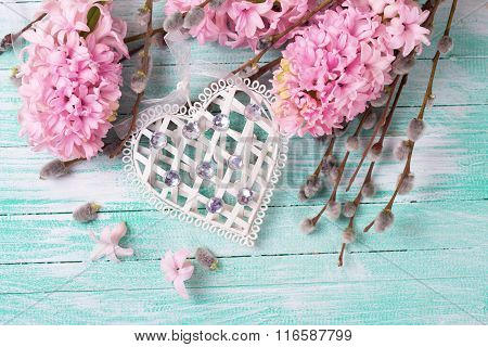 White Decoratve Heart With Hyacinths And  Willow Flowers
