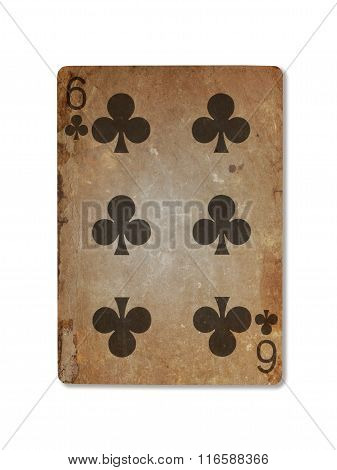 Very Old Playing Card, Six Of Clubs