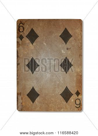 Very Old Playing Card, Six Of Diamonds