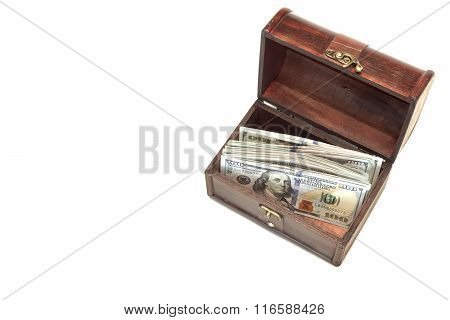 Vintage Opened Wood Box With Dollar Cash Isolated On White