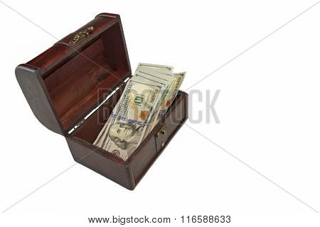 Open Retro Wood Box With Dollar Cash Isolated On White