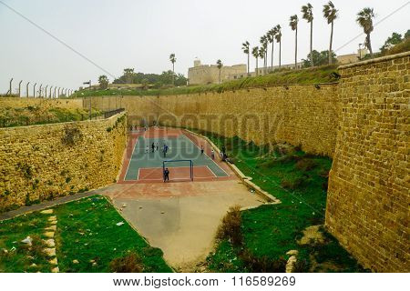 A Playground In The Moat Of The Old City Walls, Acre