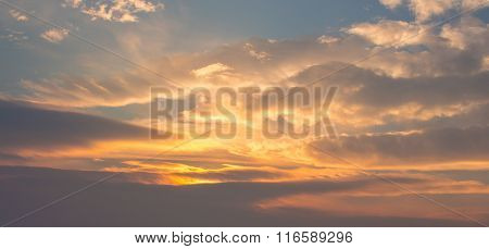 Blue with orange clouds