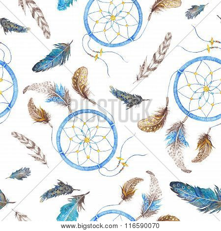 Boho Pattern with Feathers and Dreamcatcher