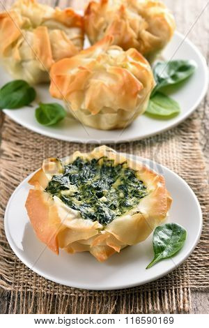 Spinach Baking On Country Table