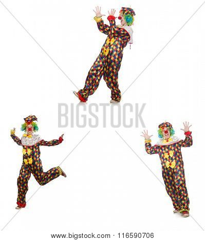 Set of clown photos isolated on white
