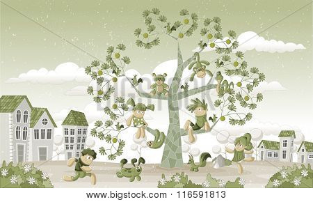 Green park in the city with children and animals over a tree.