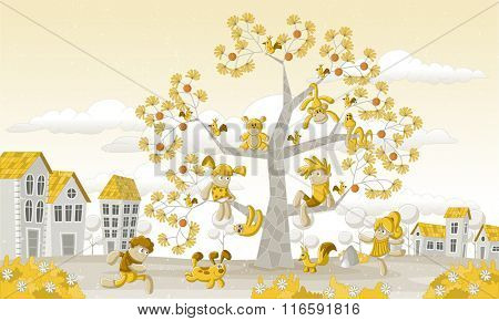 Yellow park in the city with children and animals over a tree.