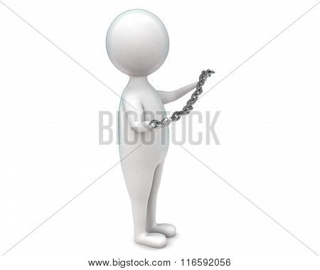 3D Man Holding A Chain In Hands Concept