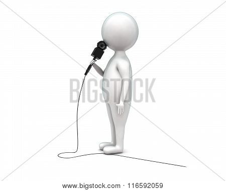 3D Man Holding Mic In Hands Concept