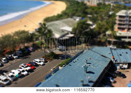 Tilt Shift: beach and carpark