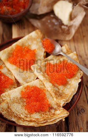 Pancakes with caviar for Shrovetide